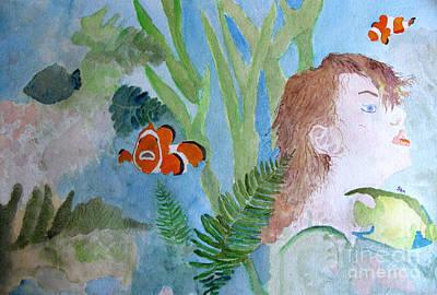 Angel Mermaids Ocean Painting - Fantasia 1 by Sandy McIntire