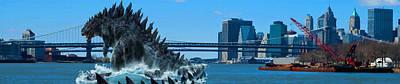 Fantasy  - Godzilla In New York City At Brooklyn Brid Original by Don Kuing