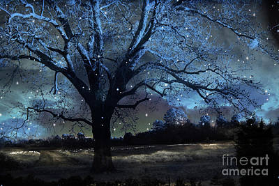 Fantasy Blue Nature Fairy Lights Photography - Blue Starry Surreal Gothic Fantasy Trees And Stars Print by Kathy Fornal