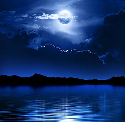 Fantasy Moon And Clouds Over Water Print by Johan Swanepoel