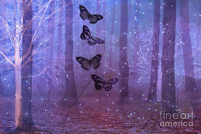 Fantasy Surreal Butterflies Purple Woodlands Fairy Lights - Sparkling Purple Butterfly Celestial Art Print by Kathy Fornal