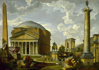 Giovanni Paolo Panini Painting - Fantasy View With The Pantheon And Other Monuments Of Ancient Rome by Giovanni Paolo Panini