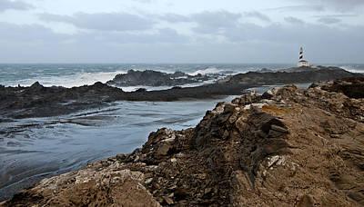 Wind Photograph - A Tempest In Minorca North Shore - Far Far Lighthouse In White Sea by Pedro Cardona
