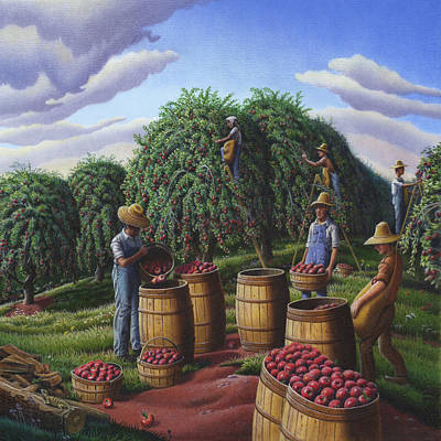 Kentucky Painting - Farm Americana - Autumn Apple Harvest Country Landscape - Square Format by Walt Curlee