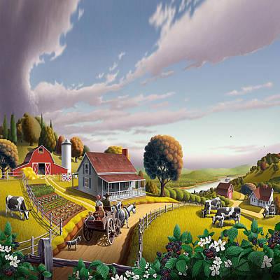 Pleasant Painting - Farm Americana - Farm Decor - Appalachian Blackberry Patch - Square Format - Folk Art by Walt Curlee