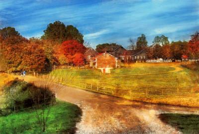 Suburban Digital Art - Farm - Barn -  A Walk In The Country by Mike Savad