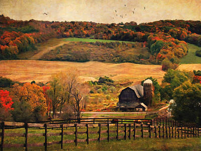 Autumn Scene Digital Art - Farm Country Autumn - Sheldon Ny by Lianne Schneider