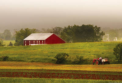 Farm - Farmer - Tilling The Fields Print by Mike Savad