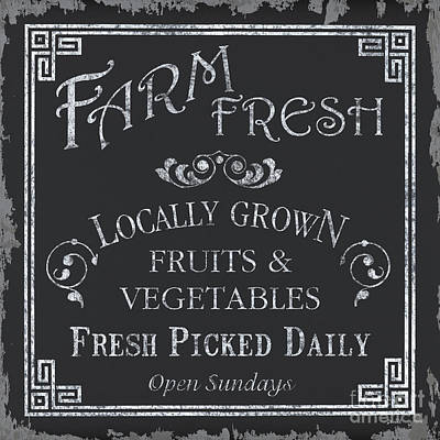 Orange Painting - Farm Fresh Sign by Debbie DeWitt