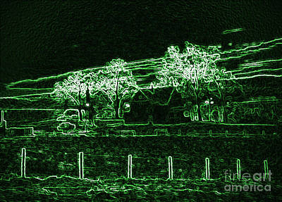 Digitally Manipulated Mixed Media - Farm Glowing Green by Minding My  Visions by Adri and Ray