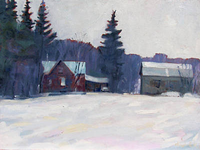 Canoeist Painting - Farm In The Snow by Phil Chadwick