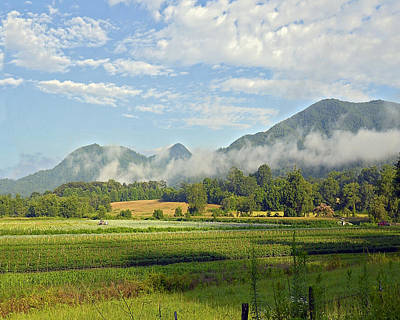 Farm In The Valley Print by Susan Leggett