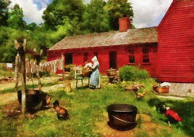 Chicken Photograph - Farm - Laundry - Old School Laundry by Mike Savad