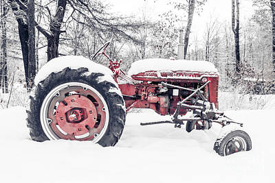 Farmall Super C Tractor In Winter Print by Edward Fielding