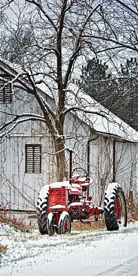 Red Barn In Winter Photograph - Farmall Tractor In Winter by Timothy Flanigan