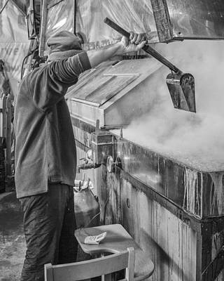 Vermont Farmer Maple Syrup Steam Black And White  Print by Andy Gimino