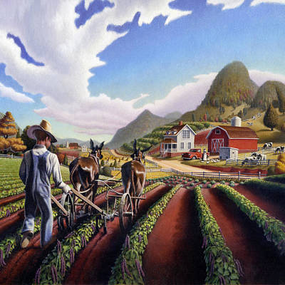 Kentucky Painting - Farmer Cultivating Peas Country Farming Life Landscape - Farm Scene - Square Format by Walt Curlee