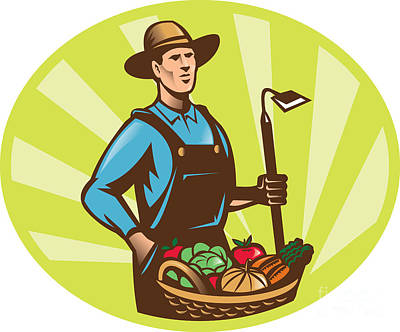 Lettuce Digital Art - Farmer With Garden Hoe And Basket Crop Harvest by Aloysius Patrimonio