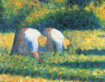 Fertility Painting - Farmers At Work by Georges Seurat