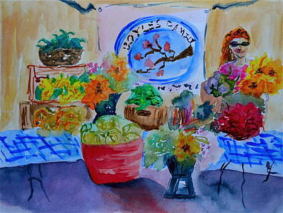 Spinach Painting - Farmer's Market by Beverley Harper Tinsley
