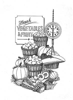 Vegetable Market Drawing - Farmers Market by J W Kelly