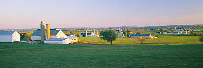 Amish Photograph - Farmhouse In A Field, Amish Farms by Panoramic Images
