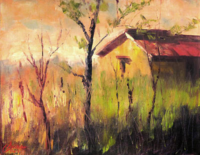 Tuscan Sunset Painting - Farmhouse In The Hay Florence Italy by Christopher Clark