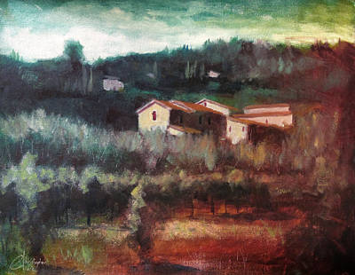 Tuscan Sunset Painting - Farmhouse On The Hill Florence Italy by Christopher Clark
