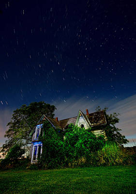 Moon Shadow 3 Photograph - Farmhouse Star Trails.  by Cale Best