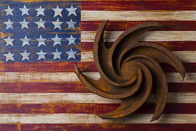 Farming Tool On American Flag Print by Garry Gay