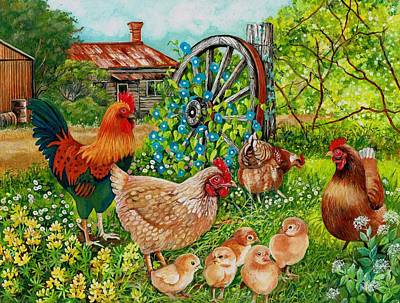 Farmyard Family Print by Val Stokes