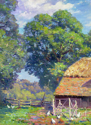 Garden House Painting - Farmyard With Poultry by Gabriel Edouard Thurner