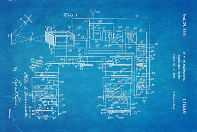 Farnsworth Television System Patent Art 1930 Blueprint Print by Ian Monk