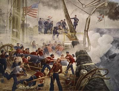 Farragut On The Hartford At Mobile Bay Print by Henry Alexander Ogden