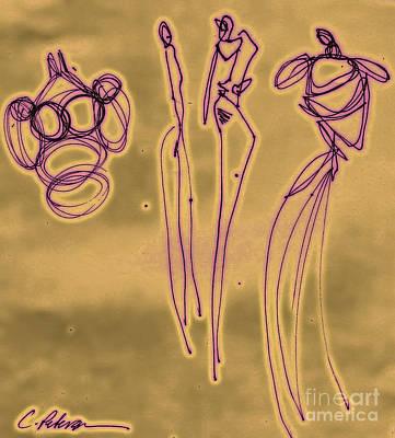 Fashion Graffiti In Purple Gold Print by Cathy Peterson