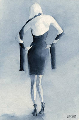 Model Painting - Fashion Illustration Art Print Woman In Blue Dress Back by Beverly Brown Prints