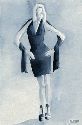 Fashion Illustration Art Print Woman In Blue Dress Front Print by Beverly Brown Prints