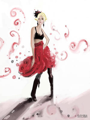 Digital Painting - Fashion Illustration Art Print Woman In Red Ruffled Skirt by Beverly Brown Prints