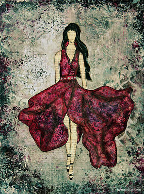Fashionista Mixed Media Painting By Janelle Nichol Print by Janelle Nichol