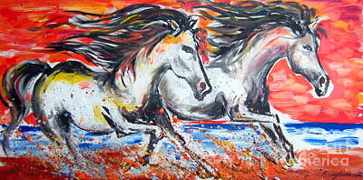 Cavalli Painting - Fast And Furious And Free At Sunset by Roberto Gagliardi