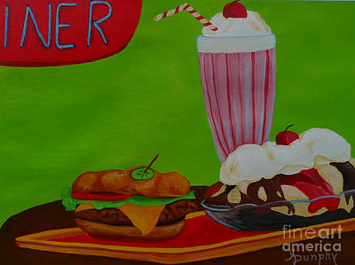 Cheeseburger Painting - Fast Food by Anthony Dunphy