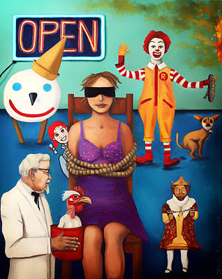 Ronald Mcdonald Painting - Fast Food Nightmare 3 Edit 5 by Leah Saulnier The Painting Maniac