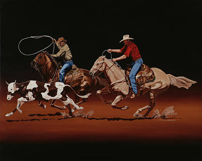 Fast Horses And Sure Ropes Print by Hugh Blanding