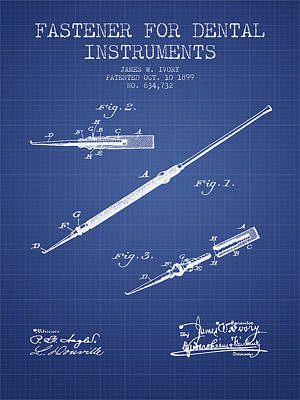 Fastener For Dental Instruments Patent From 1899 -  Blueprint Print by Aged Pixel