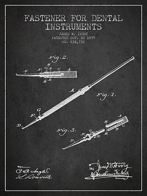Fastener For Dental Instruments Patent From 1899 - Dark Print by Aged Pixel