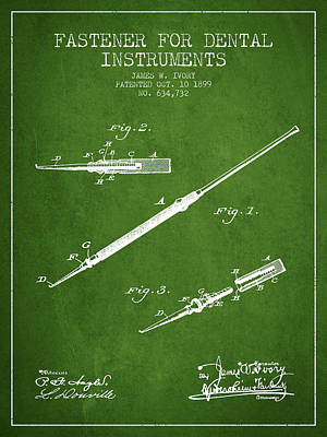 Fastener For Dental Instruments Patent From 1899 - Green Print by Aged Pixel