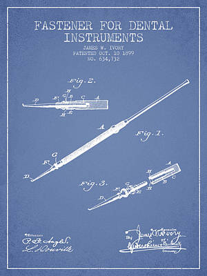 Fastener For Dental Instruments Patent From 1899 - Light Blue Print by Aged Pixel