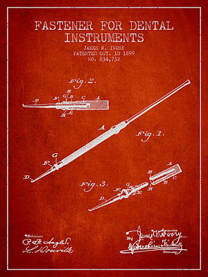 Fastener For Dental Instruments Patent From 1899 - Red Print by Aged Pixel