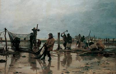 Laborer Painting - Fastening The Nets by Edouard Joseph  Dantan