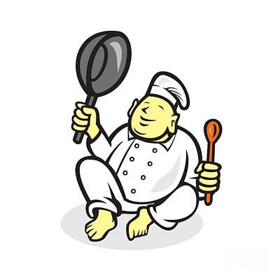 Fries Digital Art - Fat Buddha Chef Cook Sitting Cartoon by Aloysius Patrimonio